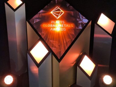 Creative set design and stage set up for PLATTS Global Metal Awards