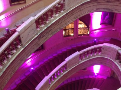 Round carpeted stairs with purple lightnings