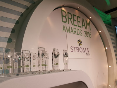 Glass plaques on the table for BREEAM Awards 2016
