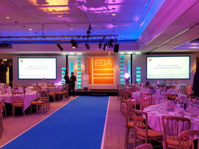 The stage and tables set up at the EDA Annual Awards event 2016