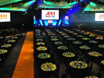 AM Awards 2015 gala event with stage, smoke machines and luxurious tables