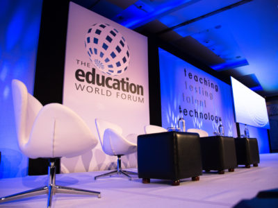 Guest speakers' tables and chairs for the Education World Forum