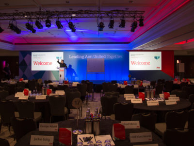 The stage, lightings and the reserved tables for the guests at AON seminar