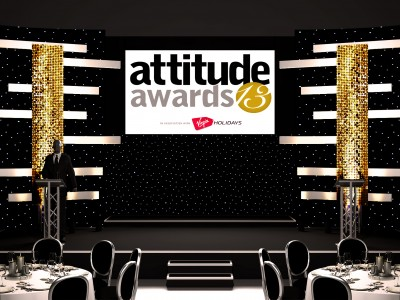 A simple 3D stage setup for attitude awards 2013 with a screen and lightings in front of the reserved tables and seats for the guests