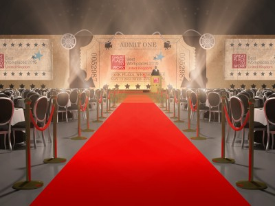 Creative stage setup and a red carpet