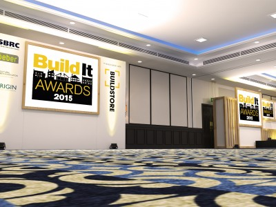 A 3D photo booth with a big frame of Build it and posters of its sponsor for Built it Awards 2015