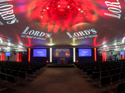 The lightings, stage setup, and the reserved seats for guests at the Lord's The Home of Cricket