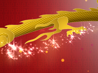 A graphic design showing a gold dragon