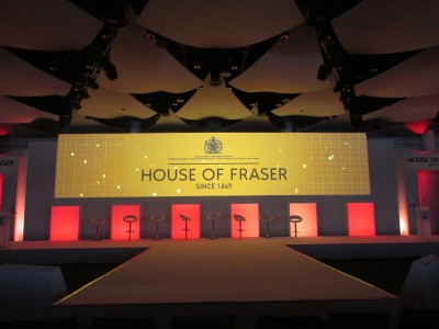 The stage setup and creative lightings of the House of Fraser
