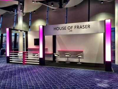 The lightings, tables and chairs, and the set design of the House of Fraser stall