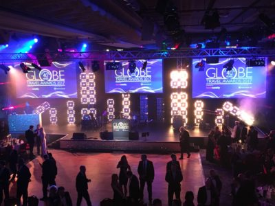 Stage with lighting and DJ booth for the Globe Travel Awards 2017