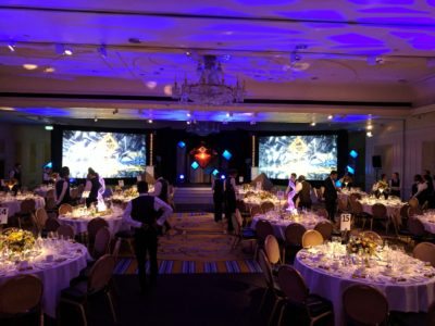 Large visual displays, lighting and gala dinner tables for Platts Global Metals Awards