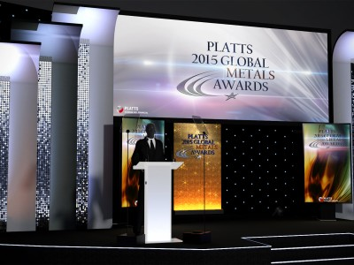 Creative 3D stage setup and design for PLATIS 2015 Global Metal Awards