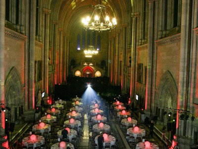 The creative lightings and the reserved tables and seats for the guests in an event