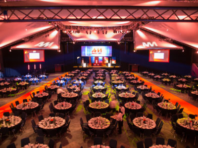 Conference stage and gala tables for the AM Awards 2017