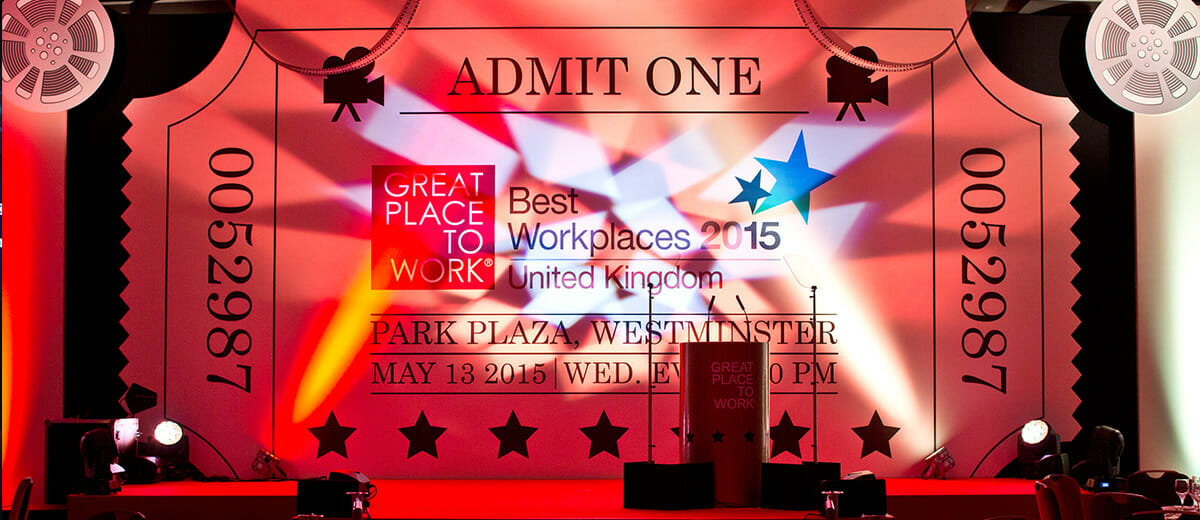Stage designed to look like an entry ticket for the Park Plaza in Westminster