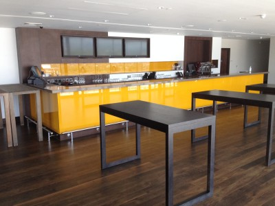 Counter facing wooden tables.