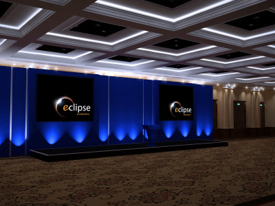 Simple stage setup with two screens at Eclipse event