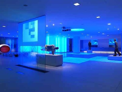Blue ambient light for an exhibit area at The Cumberland Hotel