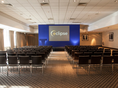 The stage showing Eclipse logo on the monitor at the Lord's