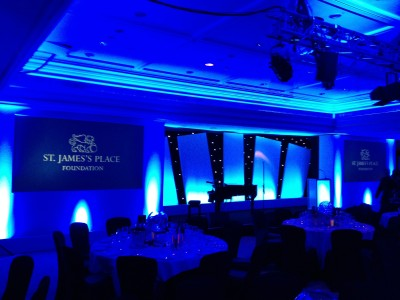 The stage setup with a piano in the center and widescreen on both sides in a St. James's Place Foundation event.