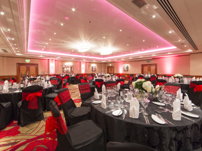A black and red themed event at the Amba Hotel Marble Arch