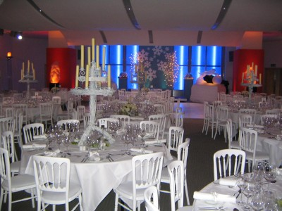 A white themed design at The Cumberland Hotel function room