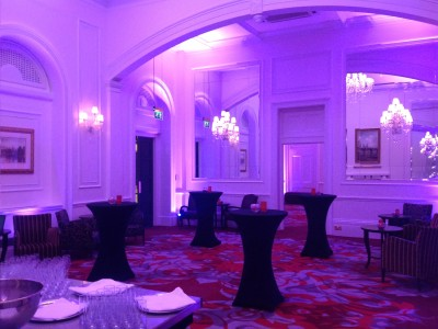 Purple cove lights and chandeliers at the Amba Hotel Charing Cross Hotel