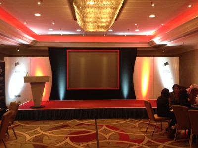 Stage setup at the Amba Hotel Marble Arch