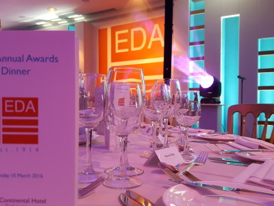 A white table setting at an EDA Annual Awards Dinner