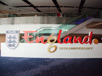 A big banner for the England's 50th Anniversary