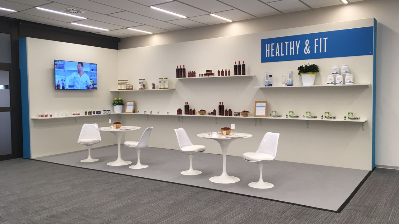 Healthy & Fit - Set design example made to look like a health bar and consultation area.